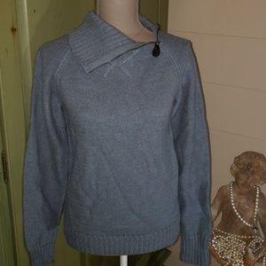 Dusty blue wool & alpaca blend sweater